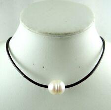 Dark brown Genuine Leather white Freshwater Pearl Handmade Jewellery Necklace