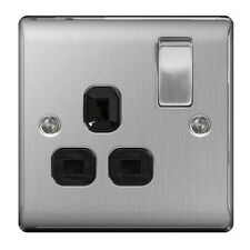 BG NBS21B Nexus Brushed Steel Switched Socket 13 Amp Black Inset 1 Gang