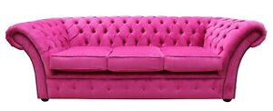 Chesterfield Uk Handmade Balmoral 3 Seater Sofa Azzuro Fuchsia Pink Fabric Couch