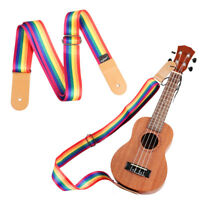 Nylon Ukulele Strap Soft Belt Adjustable Multicolor PU Leather Ends Quality Wide