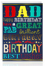 DAD BIRTHDAY Greetings Card - Great Gold Foil - Modern Text- ATB5025