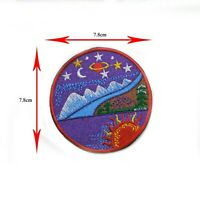 BEAUTIFUL MOON SUN STAR PLANET EMBROIDERED IRON ON/SEW ON BADGE PATCH LOGO