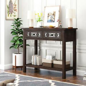 Classical Console Table with Hollow-out Decoration Two Top Drawers Open Shelf 💪