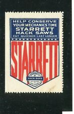 Vintage Poster Stamp Label Advertising STARRETT HACK SAWS conserve mechanic time