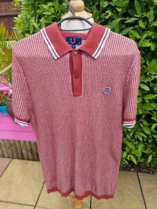 """Fred Perry Waffle Knit Short Sleeve Polo Shirt 40"""" Maroon"""