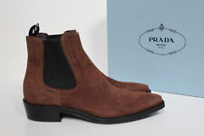 New sz 8.5 / 38.5 PRADA Brown Suede Elestic Logo Ankle Short Slip on Boot Shoes