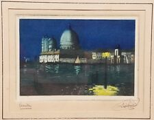 Antique Signed Original French Colored Engraving of Venice at Night Leon Ven???