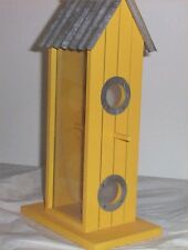 Bird Feeder Yellow Tin Roof Rope Hanger Out door Living Birdhouse