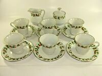 China Pearl Noel Pattern Coffee Tea Service 6 Cups w/ Saucers + Sugar & Creamer
