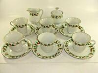 China Pearl Noel Pattern Coffee Tea Service 6 Cups w/ Saucers + Sugar & Creamer