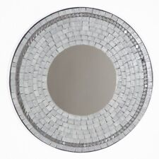 Grey Mosaic Glass Wall Mirror/40cm/Handcrafted/Recycled Glass/Round