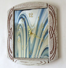 Wall clock decoration interior items brand new light wood glass ART quartz 12