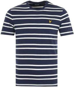 LYLE & SCOTT Mens Horizontal Stripe Short Sleeve T Shirt Navy Blue > Size Medium