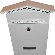 WHITE POST BOX LETTER BOX MAIL BOX WALL MOUNTED WITH 2 KEYS SECURE LOCK SYSTEM