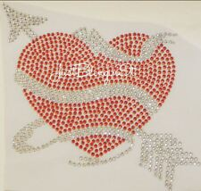 Happy Valentines Day Heart with Arrow Rhinestone Iron On Transfer Bling