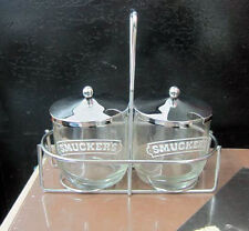 Smuckers Vintage Condiment Server Jam Jelly Jar Duo Caddy