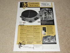 Garrard 301 Transcription Turntable Ad, 1957, 1 pg, Articles, Info, Specs