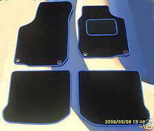 VW GOLF MK5 2004-2009 RHD BLACK CAR FLOOR MATS WITH BLUE EDGE 4 FRONT OVAL CLIPS