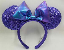 NEW Disney Parks Disneyland Purple Potion Sequins Minnie Ears Headband Kids Gift