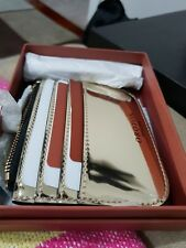 OROTON Men's Wallet 3 B / card zip top genuine GOLD MIRRO LEATHER POUCH+ box