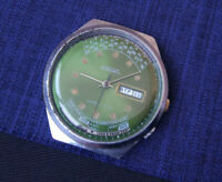 Rare USSR WATCH RAKETA Perpetual green dial Calendar 2628.H Serviced