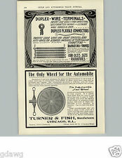 1905 PAPER AD Turner & Fish Steel Wheel Car Auto Automobile Spokes Chicago Ill
