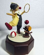 "Rare! Vtg Wooden Circus Clown & Dog Schmid Music Box plays ""The Entertainer"" Ec"
