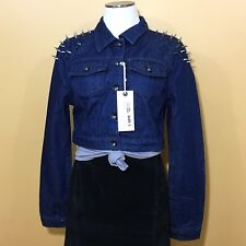 NWT Women's Special A Jeans Denim Studded Spiked Shoulder Cropped Jacket Large