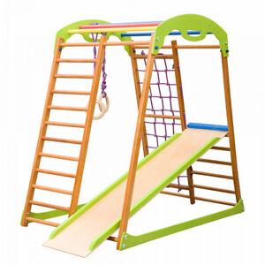 Indoor Wooden Playground for Kids Indoor Gym Sets Up