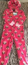 Girls Size 7 Happy Monkey Face All in One Pjs  inc Hood with Ears Warm as New