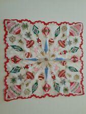 Vintage Unused Christmas Hankie Santa Mcm Shiny Brite Ornaments