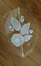 Glasschale mit Blumenmuster, Ovalformig, Klarglas Blumen Motive
