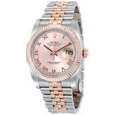 Rolex Datejust Pink Roman Dial Fluted 18kt Rose Gold Bezel Jubilee Bracelet