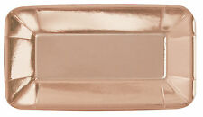 8x Pequeño Oro Rosa Metalizado Papel APERITIVO Canapé PLATOS 13 x 23cm