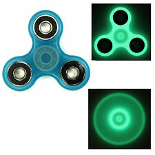 Blue/Black - Glow Dark Tri FIDGET Spinner Ceramic Ball Hand SPINNER Desk Toy