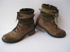 DROMEDARIS KARA OLIVE LEATHER LACE UP/ZIP BOOTS WOMEN US 6.5-7 EUR 37 NICE