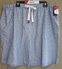 NWT $45 IZOD 2XLT TALL COTTON SLUB WOVEN SLEEP SHORTS Striped Pajama MEDIUM BLUE