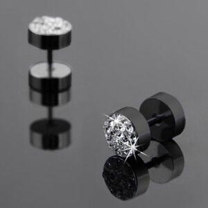 Round Stainless Steel Dumbbell Barbell Ear Stud Punk Earrings For Men R