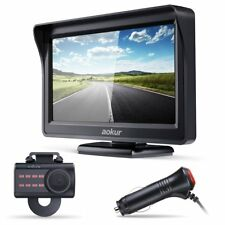 "Aokur 4.3"" LCD Monitor Car Backup Camera Rearview Parking System 2 Way Wired Kit"