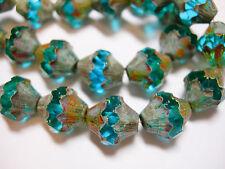 15 11x10mm Czech Glass Aqua Picasso Baroque  Bicone Beads
