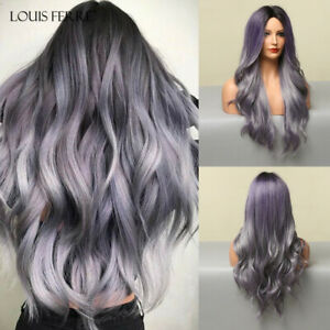 Cosplay Party Long Wavy Purple Mixed Silver Hair Wigs with Highlights for Women