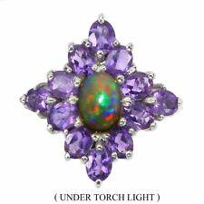 Unheated Oval Fire Opal Rainbow Full Flash Amethyst 925 Sterling Silver Ring