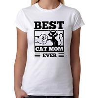 BEST CAT MOM EVER Fistbump Kitty Katze Sprüche Spaß Lustig Comedy Damen T-Shirt