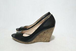 Vintage Size 9 Womens Peep Toe Cork Detail Wedge Shoe #OldSchoolSpecial
