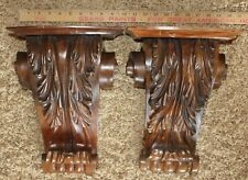 Pair of Vintage Antique Heavy Wood Architectural Corbels 14 Inches Tall