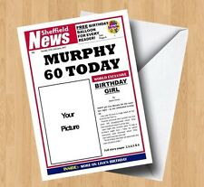 Personalised Own Photo/Picture Spoof Newspaper Birthday Card