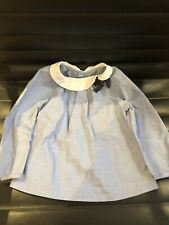 Jacadi 100% Cotton White Peter Pan Colar Blue Blouse With Navy Bow 18 month