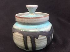 """MERRITT ISLAND POTTERY COVERED JAR POT CONTAINER 3 1/4"""""""