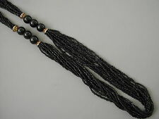 VINTAGE BLACK SMALL BLACK BEAD FLAPPER STYLE NECKLACE 34""