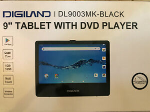 """DIGILAND 9"""" Quad-Core 16GB Android Tablet & DVD Player w/Accessories, Black"""